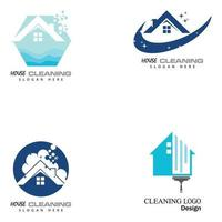 cleaning clean service logo icon vector template set