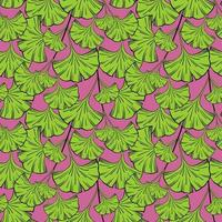 Seamless background with ginkgo biloba leaves vector