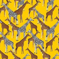 Golden blue background with giraffes who want to be zebras vector