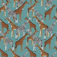 Blue background with giraffes who want to be zebras, tigers and leopards vector