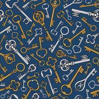 Blue vintage background with old keys vector