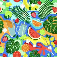 Blue seamless background with colorful drinks and fruits vector