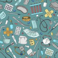 Blue seamless background with medical elements vector