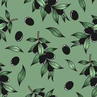 Green background with olive branches vector