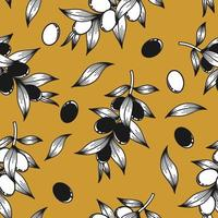 Mustard background with olive twigs vector