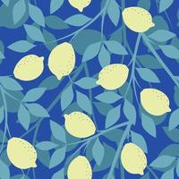 Blue seamless background with lemon branches vector