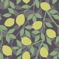 Grey seamless background with lemon branches vector