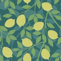 Green seamless background with lemon branches vector
