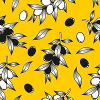 Yellow background with olive branches vector