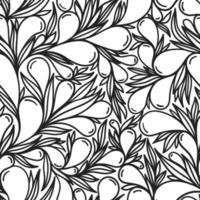 White seamless background with black paisley pattern vector
