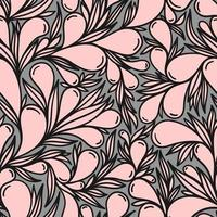 Grey seamless background with pink paisley pattern vector