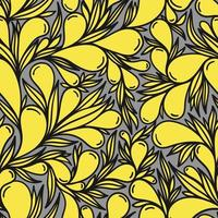 Grey seamless background with yellow paisley pattern vector