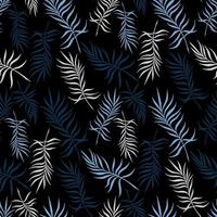 Black background with delicate palm leaves vector