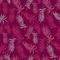 Crimson background with delicate palm leaves vector