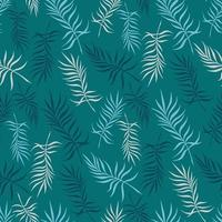 Turquoise background with delicate palm leaves vector