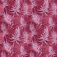 Crimson background with palm and monstera leaves vector