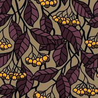 Golden seamless background with yellow berries on the branches vector