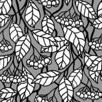 Grey seamless background with white berries on the branches vector