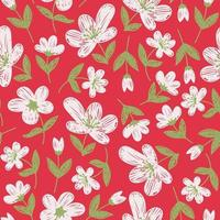 Pink wallpaper with painted white flowers vector