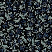 papel tapiz negro con bayas azules pintadas vector