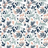 papel tapiz blanco con bayas azules pintadas en él vector