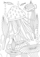 Coloring book with tropical marine life vector