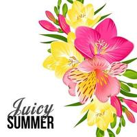 Festive banner with bright tropical flowers vector