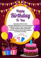 Happy birthday with balloons and cake vector