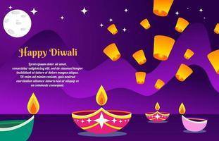 Fondo de diwali con linternas en una hermosa noche vector