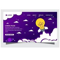 Landing page with rocket lights vector