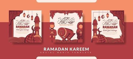 plantilla de publicación de Ramadán, conjunto de plantillas de publicación de redes sociales vector
