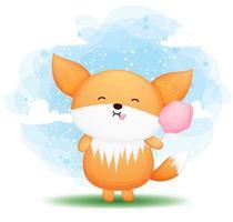 Cute doodle baby fox eats cotton candy cartoon illustration vector