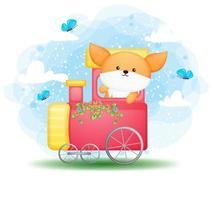 lindo doodle bebé zorro conduce un personaje de dibujos animados de tren vector