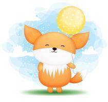 Cute doodle baby fox holding balloon cartoon character vector
