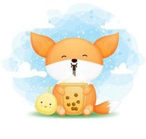 Cute doodle baby fox holding boba tea with chick friend cartoon character vector