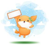 Cute doodle baby fox holding a sign board cartoon character vector