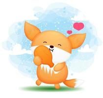 Cute doodle baby fox holding fried chicken cartoon character vector