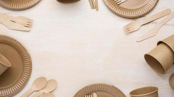 Eco friendly disposable tableware top view copy space photo