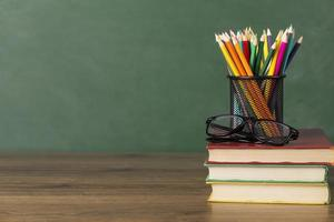 School supplies on a desk photo