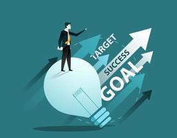 personaje de dibujos animados de hombre de negocios. concepto de éxito empresarial. vector