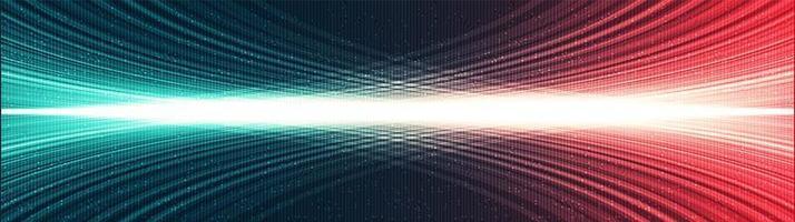 Fondo de tecnología de luz digital panorámica, diseño de concepto de onda de sonido y digital de alta tecnología, espacio libre para texto, ilustración vectorial. vector