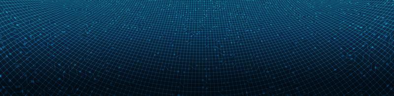 Microchip de circuito de línea digital panorama sobre fondo de tecnología vector