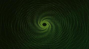 Tecnología de espiral de deformación de teletransporte digital sobre fondo verde vector