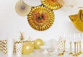 Yellow and white baby shower decorations photo