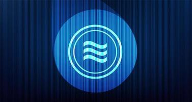 Símbolo de criptomoneda libra sobre fondo azul cortina con luz de escenario vector