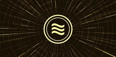 Símbolo de criptomoneda libra de oro sobre fondo de tecnología de red vector
