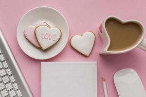 Valentine's Day cookies on desk top