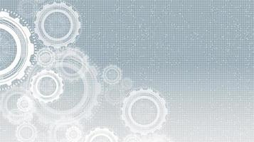 engranajes cibernéticos sobre fondo de tecnología gris vector