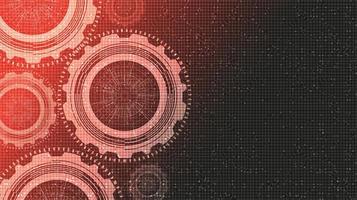 Engranajes digitales rojos sobre fondo de tecnología vector