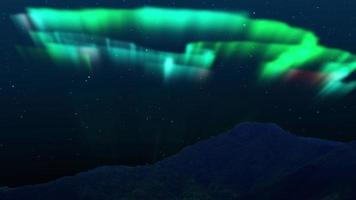 Aurora Borealis and Stars Simulated Northern Lights on the Arctic sky